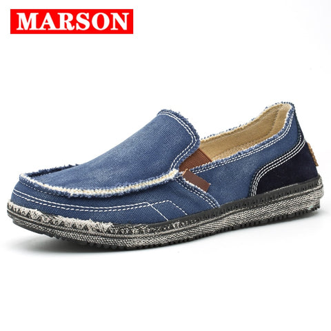 MARSON Men Classic Canvas Shoes Casual Sneakers Men's Lazy Shoes Moccasin
