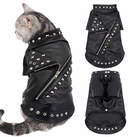 Leather Cat Jacket Warm Dogs Cat Clothes Coat