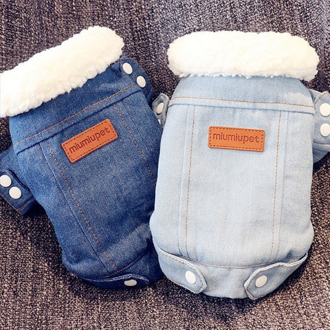 Luxury Winter Dog Jacket D Denim Coat Jeans  Chihuahua Poodle Bichon Pet Clothing