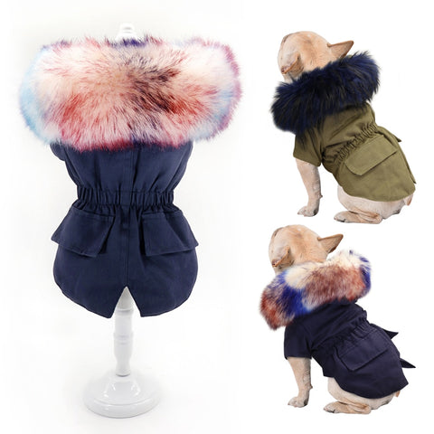 Warm Winter Dog Clothes Luxury Fur Dog Coat Hoodies for Small Medium Dog Windproof