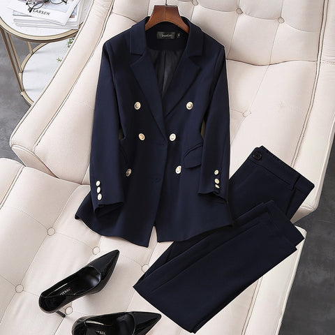 2020 New Elegant Office Work Wear Pant Suits OL 2 Piece Sets Double Breasted Blazer Jacket & Trousers