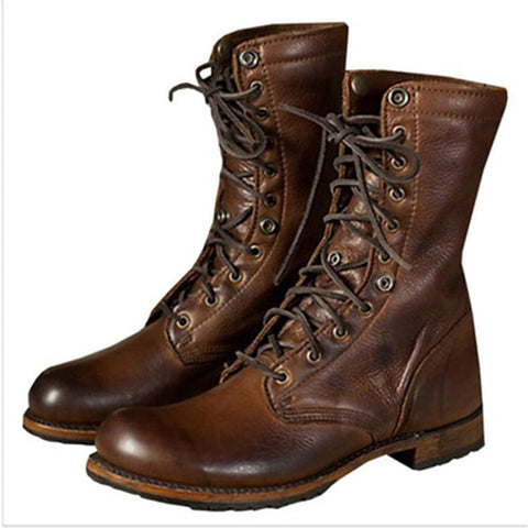 Gothic Mens Shoes Brown Ankle Boots Lace Up Leather