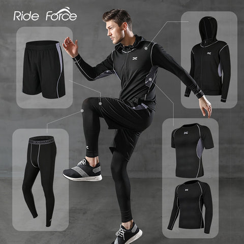 5 Pcs/Set Men's Tracksuit Gym Fitness Compression Sports Suit