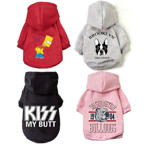 Warm Dog Hoodie Winter Pet Clothing For Dogs Cartoon