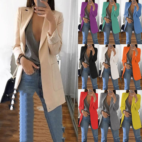 Women's Blazer jackets Casual Fashion Basic Notched Slim Solid Coats Office Ladies OutwearChic loosecoat