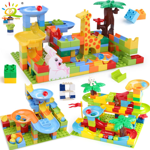 HUIQIBAO 52-182pcs Marble Race Run DIY Maze Balls Building Blocks Duploed Funnel Slide Big Size Bricks Educational Baby Toys