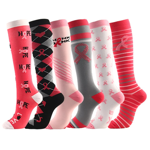 Multi-color Women Men Long Thigh High Socks Compression Stretch Stockings breast cancer awareness