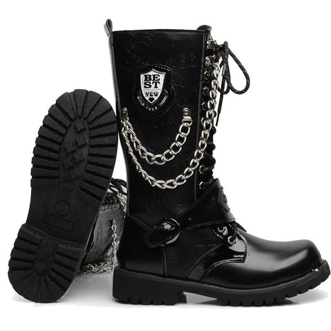 2020 Gothic Platform Shoes men Gladiator Buckle Strap Ankle Boots