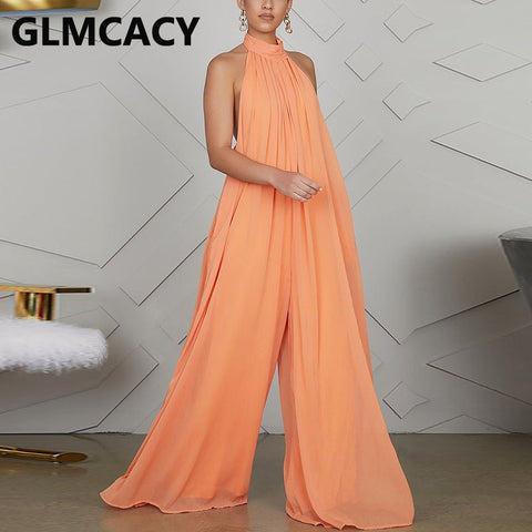 Women Chiffon Halter Backless Jumpsuits Loose Style Long Overalls Elegant Party Jumpsuit