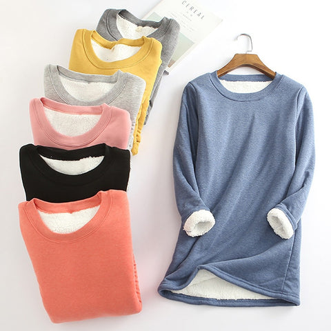 2020 Winter Women Thick Fleece Sweatshirt Velvet Warm Solid O-neck