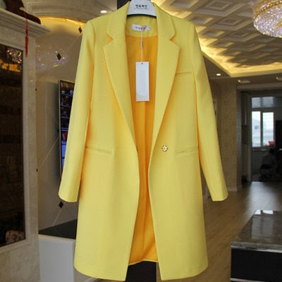 Brand European Candy Style Colors Blazer Feminino Newest Long Loose Casual Coat Women's Jacket