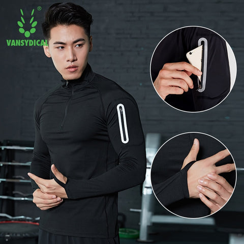 Running Shirt Men Zipper Pullover Madarin Collar Long Sleeve with Pocket