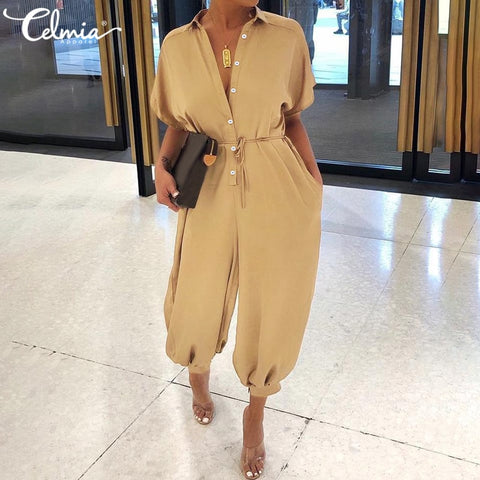Celmia Women Long Jumpsuits Sexy Summer Short Sleeve Long Rompers Casual Loose