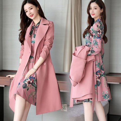 Spring Autumn Ladies Dress Suits for Office Wear Long Trench Coat and Knee Length Dress 2 Piece Set