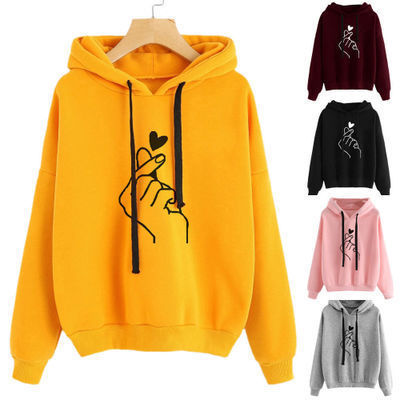Women Sweatshirt And Hoody Ladies Hooded Love Printed Casual Pullovers