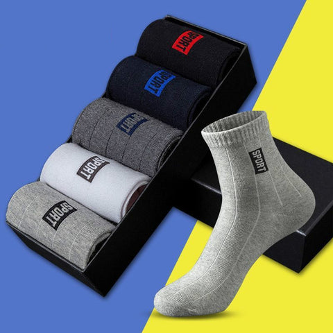 10Pcs=5 Pairs Men Socks Cotton Socks Breathable Sweat-Absorbent Spring Autumn Black Socks Deodorant Business Men Socks Pack