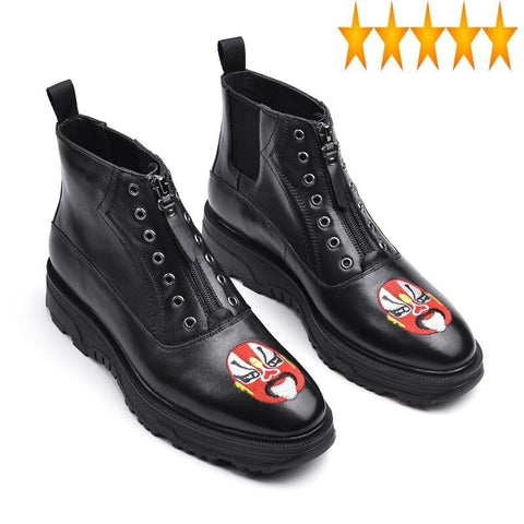 New Mens Gothic Embroidery Zip Ankle Designer Genuine Leather
