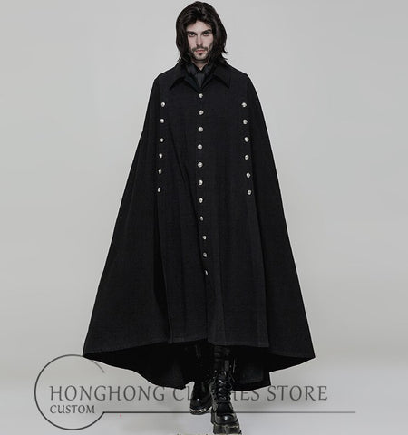 【 customized runway clothing 】! New men cape coat  batwingsuper long cloak