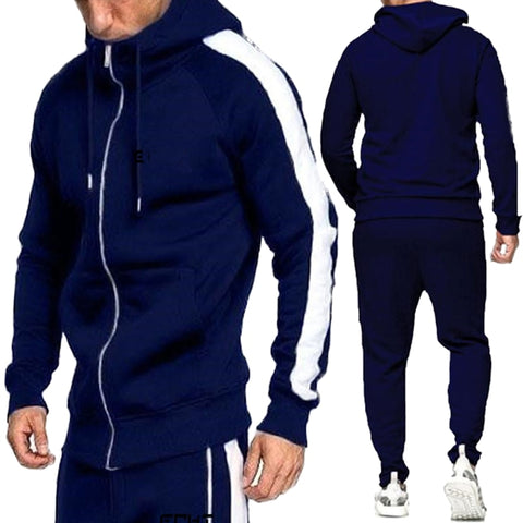 2Pcs Men Hoodie Tops Joggers Pants Tracksuit Set Running Jogging Gym Sports Wear