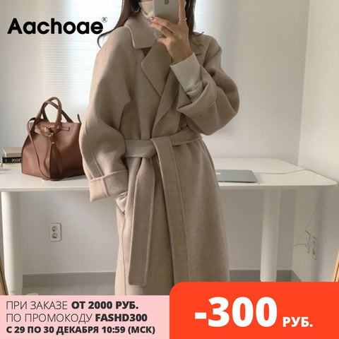 Aachoae Women Elegant Long Wool Coat With Belt Solid Color Long Sleeve Chic Outerwear