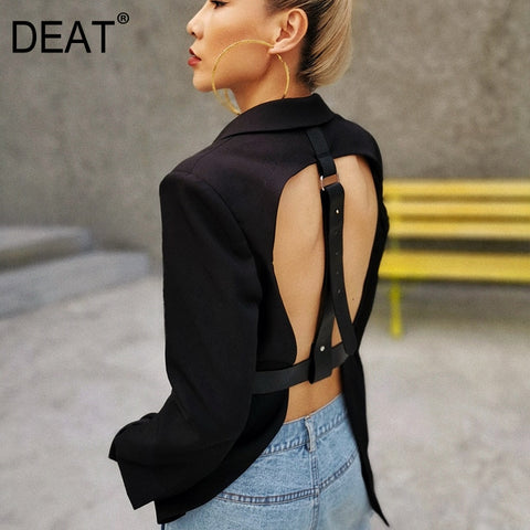 DEAT 2021 New Summer Fashion Sexy Hollow Out Sashes V Neck Double Breasted Black Slim Backless Long Blazer Women SB261