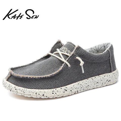 KATESEN 2021 Summer Men's Canvas Shoes Lightweight Breathable Slip-on Casual Shoes