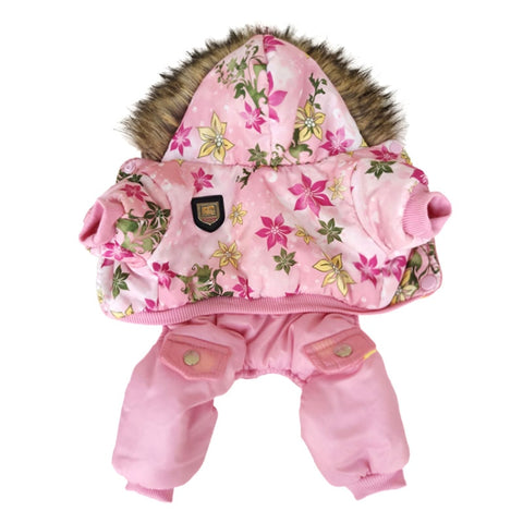 Flower Pattern Hooded Pet Dogs Winter Coat