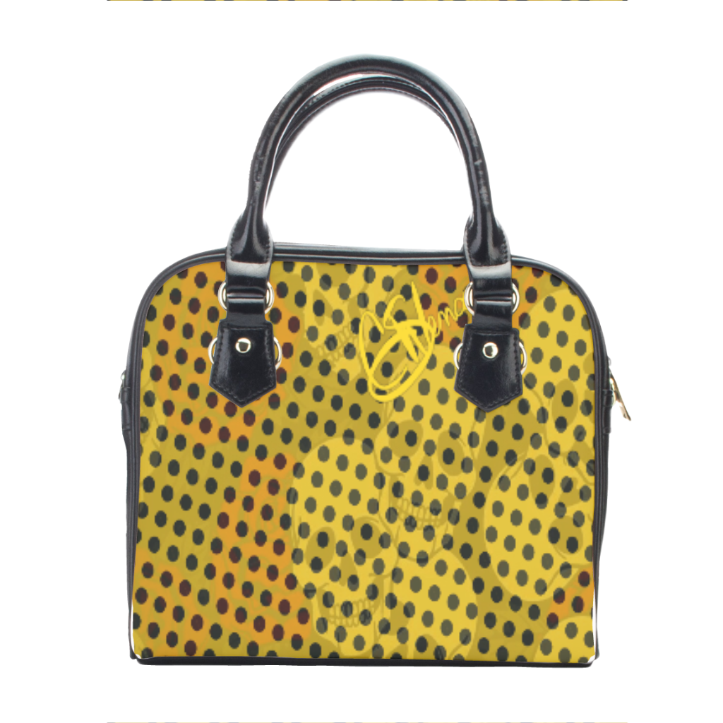Leather shoulder handbag Yellow skull print
