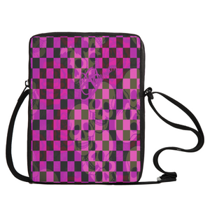 Crossbody bag Purple skull print1