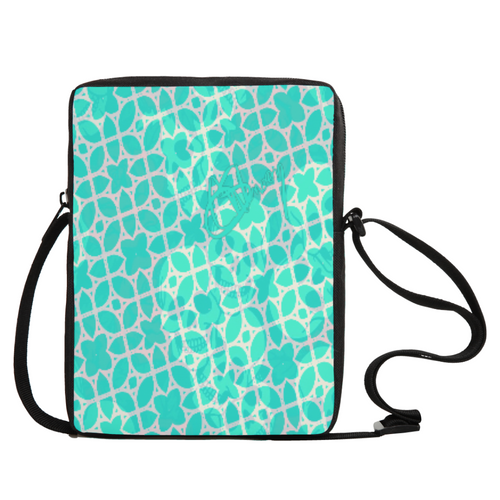 Crossbody bag Teal skull print
