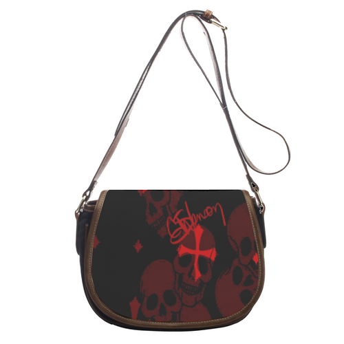 Leather saddle bag Red/black skull print