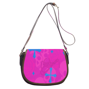 Leather saddle bag PInk skull