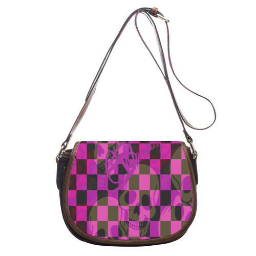 Leather saddle bag Purple skull