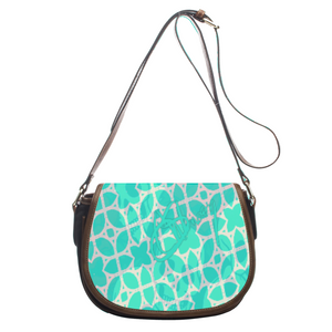 Leather saddle bag Teal skull