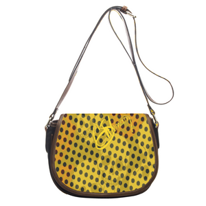 Leather saddle bag Yellow skull