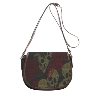 Leather saddle bag Textured skull