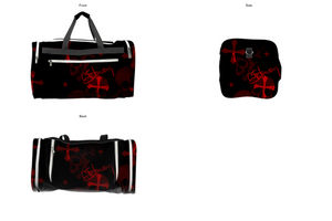 Travel bag Red skulls and crosses