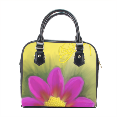 Leather shoulder handbag Flower