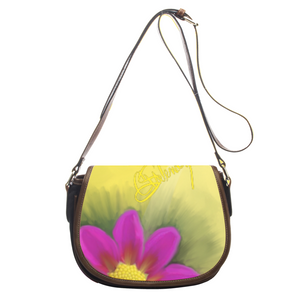 Leather saddle bag Flower