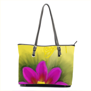 Small leather tote bag Flower