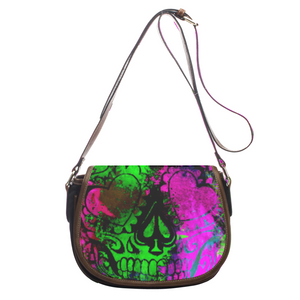 Leather saddle bag Skull