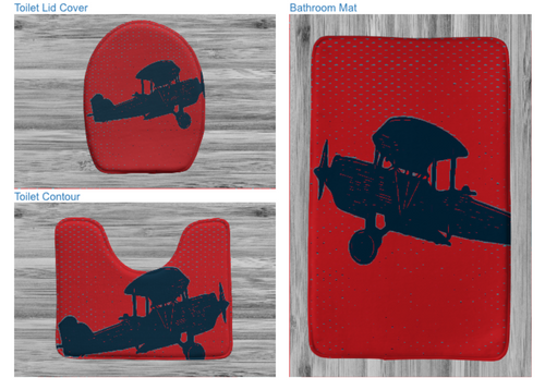 Bath/3 piece bath rug  AirPlane