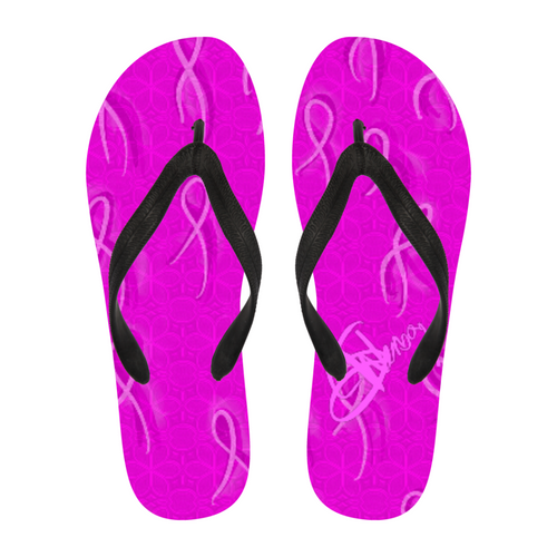 Women's flip flops Cancer Awareness45