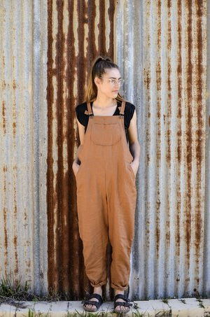 Slouchy Overalls | Warm Toffee Linen