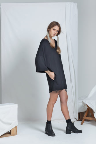 Dual Reversible Dress Black | Organic Cotton Jersey