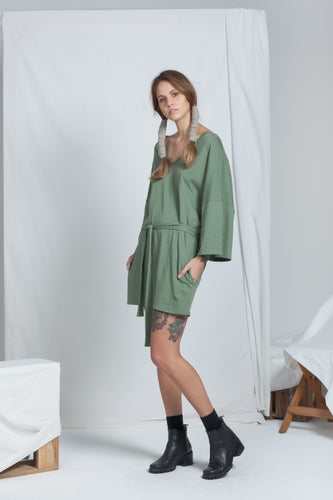Dual Reversible Dress Khaki | Organic Cotton Jersey