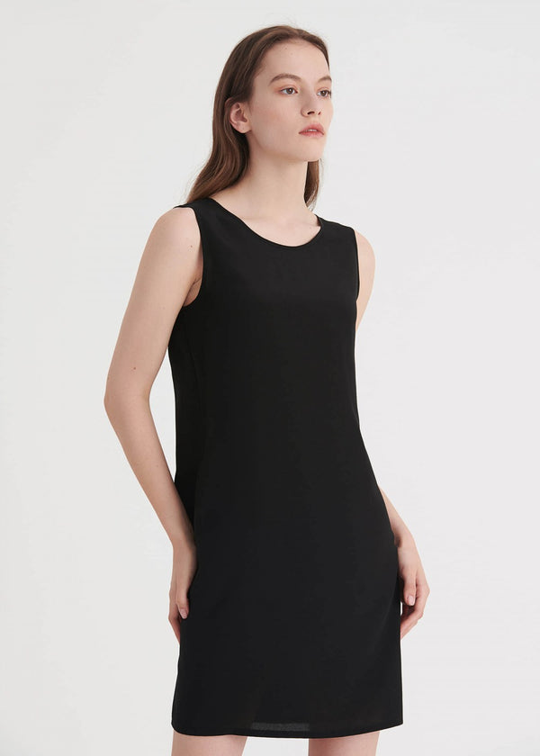 16MM Sleeveless V Neck Back Silk Shift Dress