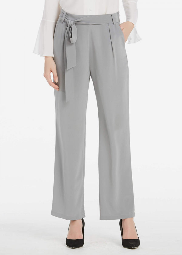18MM Bow Belt Wide Leg Silk Trousers