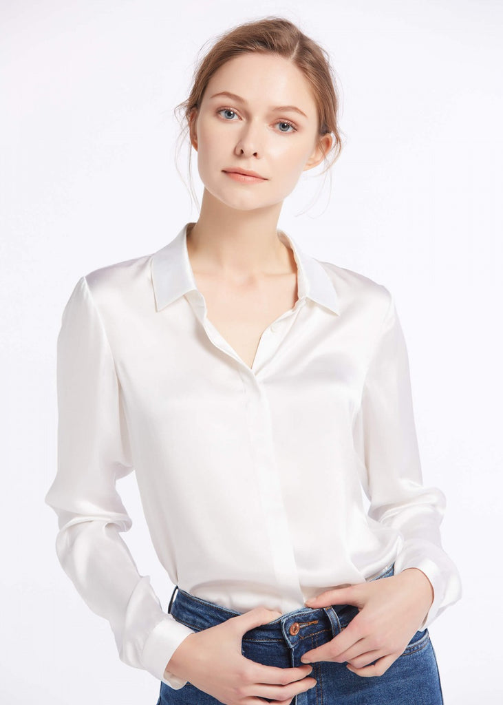 22MM Basic Concealed Placket Silk Shirts