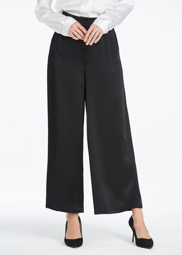 22MM Wide Legs Silk Pants